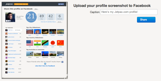 How to post a screenshot of your site to a user's Facebook account
